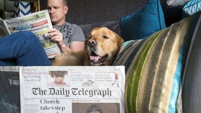 dog sitter and dog reading paper -2