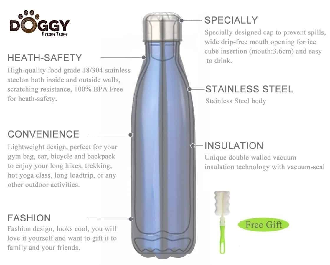 f2baa48abd Insulated Stainless Steel Water Bottle (500ml) ~ The Doggy Dream ...