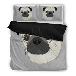 Grey pug duvet cover set with pillows