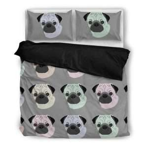 Pop art pug duvet cover set with pillows