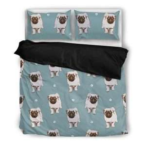 Pug paw duvet cover set with pillows